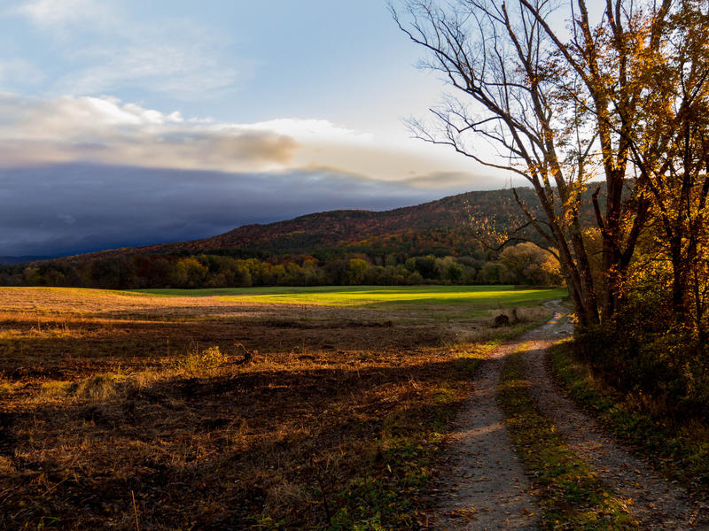 <p>Rural, Vermont Autumn road late afternoon after the rains.</p>