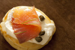 12352   Blini with thin slice of salmon