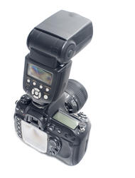 12149   Back view of SLR camera with strobe light
