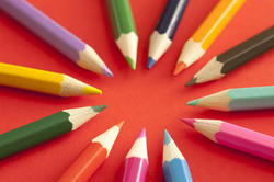 12162   Colored pencils pointing toward each other