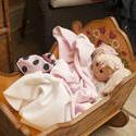 11965   Doll Nestled Under Blankets in Wooden Cradle