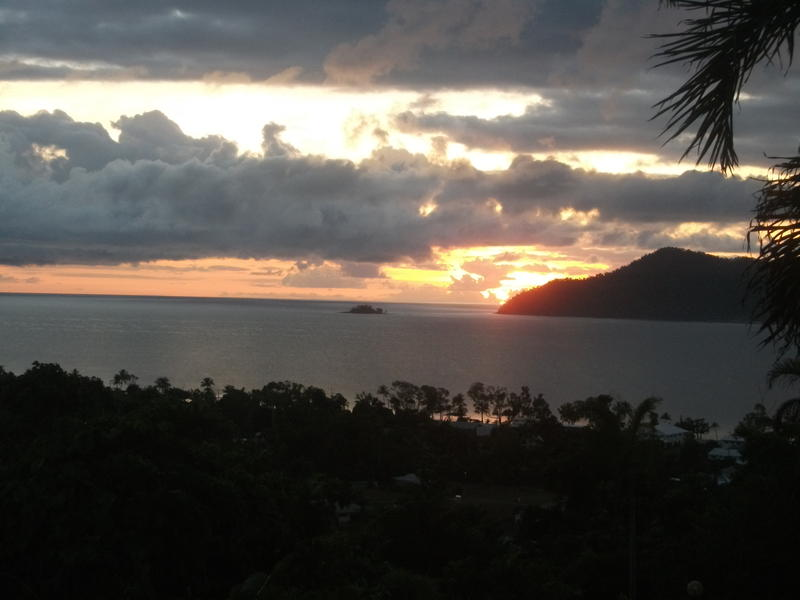 <p>Stormy sunset over Dunk Island, Qld., Australia</p>