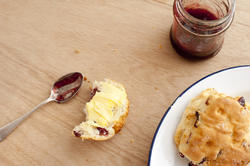 12328   biscuits, spoon, plate and jam