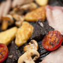 13001   grilled mushrooms, black pudding and tomato