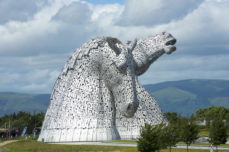 Rearing Horse Heads of The Kelpies Sculpture, a Monument to Horse Powered Industry in Scottish Heritage, in Countryside of Falkirk, Scotland