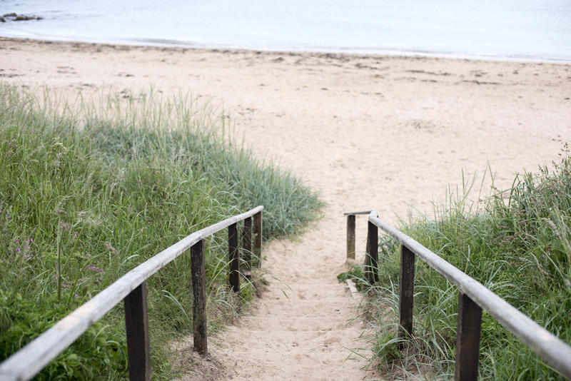 Pathway down to the beach, Fife Coast, Scotland leading down between rustic wooden railings to the golden sand below