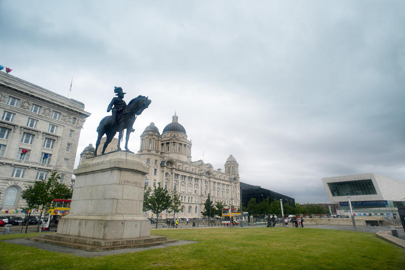 Wide angle distortion view on statue of Edward VII in Liverpool, United Kingdom
