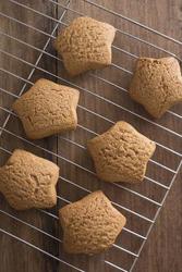 17169   Freshly baked gingerbread star cookies on a rack
