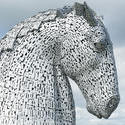 12852   Profile of one of the Kelpies, Falkirk, Scotland