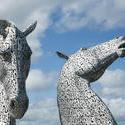 12855   The Kelpies, Falkirk, Scotland against a blue sky