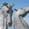 12816   Towering horse head sculptures