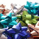 11920   Colorful Metallic Gift Bows on White Background