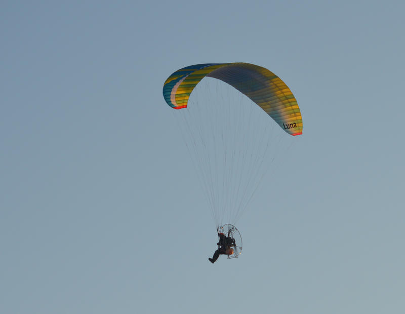 <p>Paragliding over the beach in Cleveleys, Lancashire, UK</p>