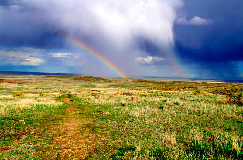 <p>At the Pawnee Buttes National Grasslands a rainbow appears amidst evening storms.</p>