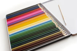 12184   Case of various colored pencils and brush