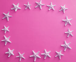 13107   Oval white starfish frame on colorful pink