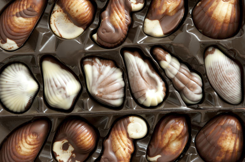 Assortment of luxury variegated shell shaped pralines in their original molded packaging as a gift for a loved one