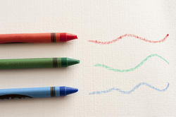11972   Red, blue and green wax crayons