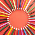 12192   Colorful Pencil Crayons Arranged in Circle