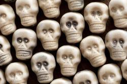 12786   Background of white plastic toy skulls