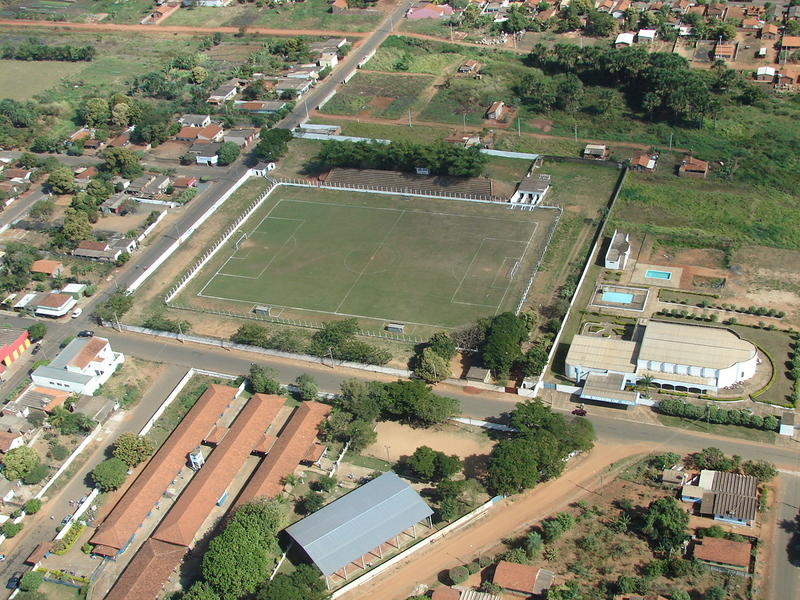 <p>football (soccer) field seen from above</p>