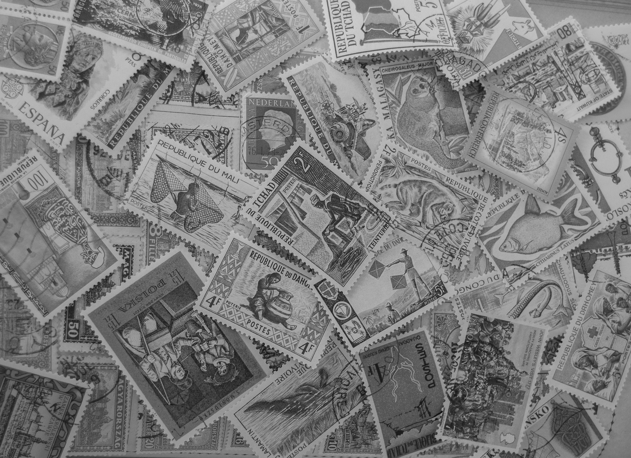 free stock photo 16822 black and white stamps background