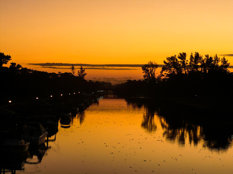 <p>Deerfield Beach Florida sunrise from the Hilsboro Canal bridge.</p>