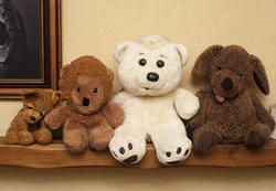 11976   Row of assorted soft plush toys on a shelf