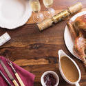 17192   Thanksgiving dinner with turkey on wooden table