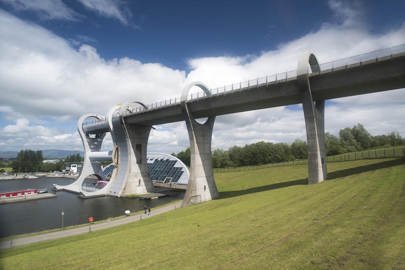 Landscape view of the Falkirk Wheel, Scotland, a rotational boat lift connecting two canal systems at different levels