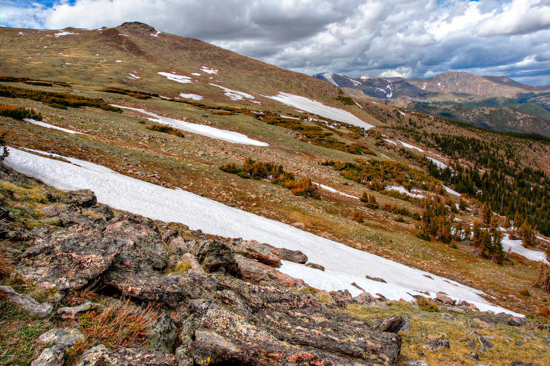 <p>Snow fields lie on the tundra at Rocky Mountain National Park. &nbsp; &nbsp;In this scene, rock in the foreground gives way to a series of high altitude pine forests and snow fields. &nbsp;Distant mountains lie under stormy clouds.</p>