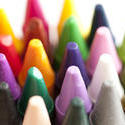 11946   Close up of numerous colorful wax crayon tips
