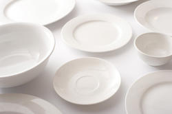 17164   Assorted clean white plates, saucers and bowls