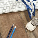 11909   Silver Medals on Rustic Wood Computer Desk