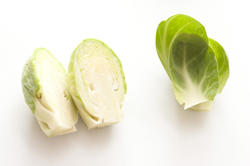 17219   Halved fresh Brussel sprout with loose leaves