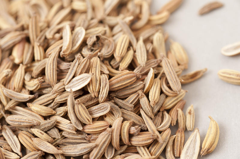 Macro view of loose dried caraway seeds heaped on white, an aromatic herb for cooking