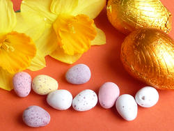 17336   Yellow spring daffodils and chocolate Easter eggs