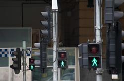 17395   Traffic lights with green pedestrian man