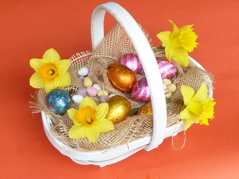 Decorative Easter basket with eggs and colorful yellow spring daffodils on a bed of hessian over a bright orange background
