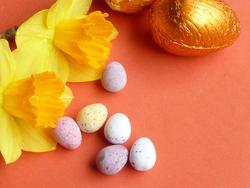 17338   Mini sugar coated Easter eggs with daffodils