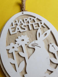 17339   Cute rustic wooden Happy Easter medallion