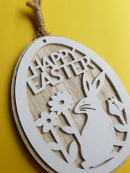 17347   Easter wooden pendant with rabbit