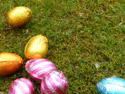17349   Colorful chocolate Easter eggs on the ground