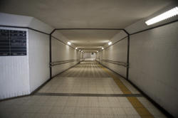 17398   Empty modern subway tunnel with neon lights