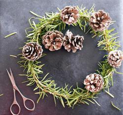 17282   Homemade Christmas wreath with pine foliage