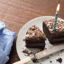 17301   Remaining slices of a chocolate birthday cake