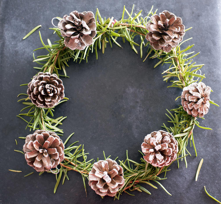 Aromatic herbal rosemary Christmas wreath with pine cones over a dark background with copy space for a seasonal greeting