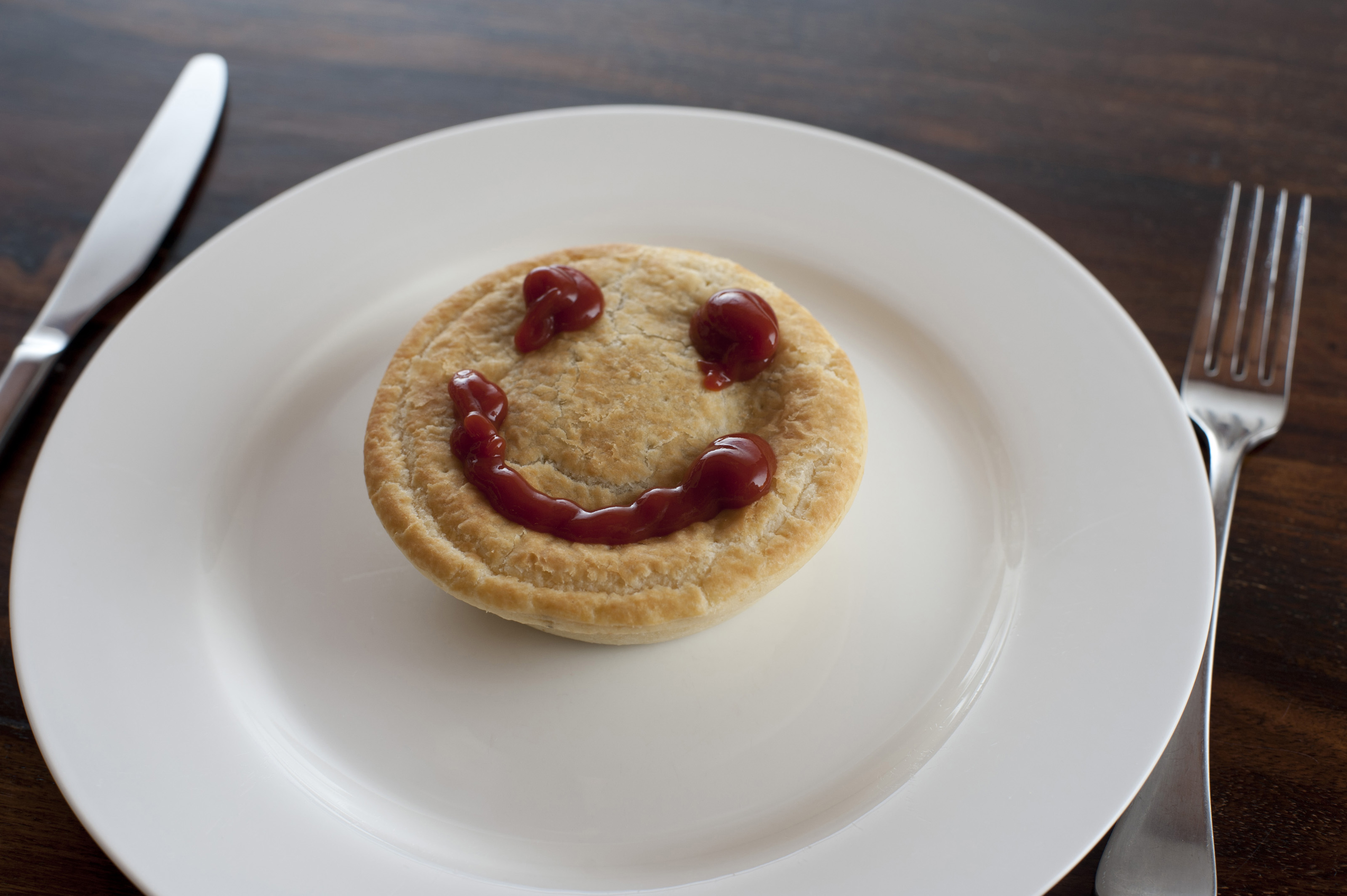 Meat pie with a smiley gravy face on the crusty pastry served on a plate for & Free Stock Photo 10488 Meat pie with a smiley gravy face ...