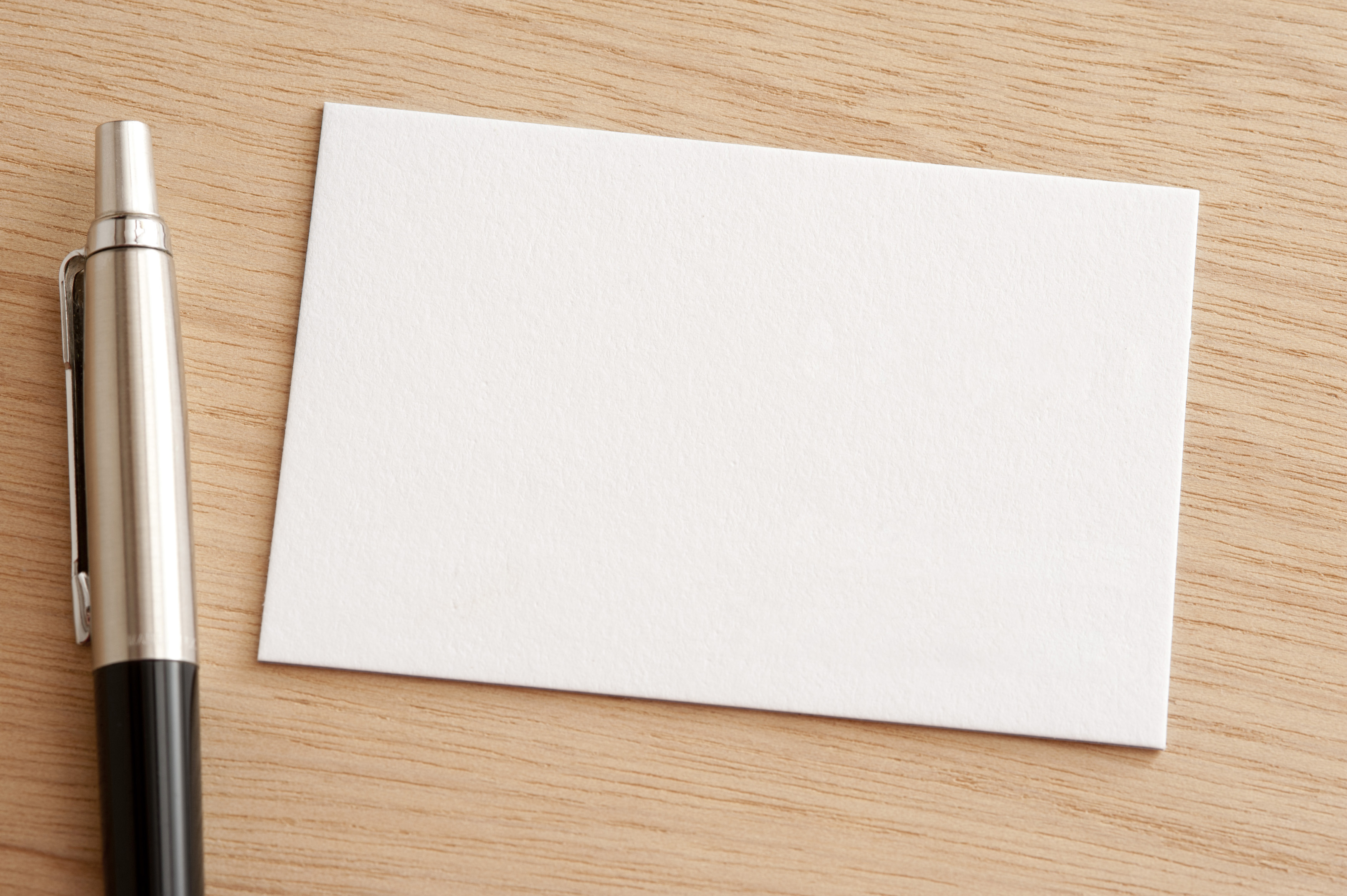 Free Stock Blank white business card with pen