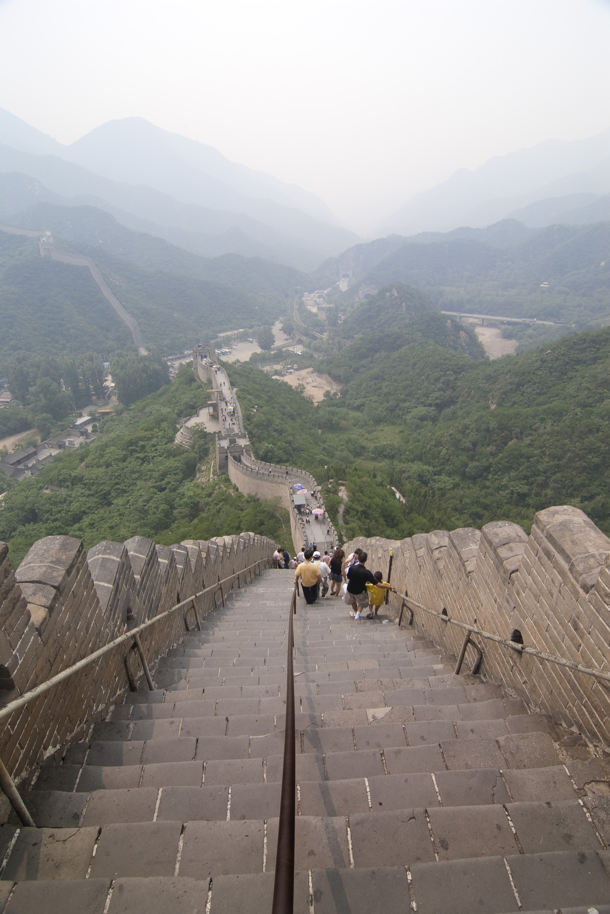 A Down The Many Steps On The Great Wall Of China Most Famous Landmark